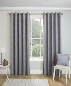 PAIRS OF GEOMETRIC SILVER GREY BOHEMIAN DESIGN EYELET BLOCK OUT THERMAL CURTAINS